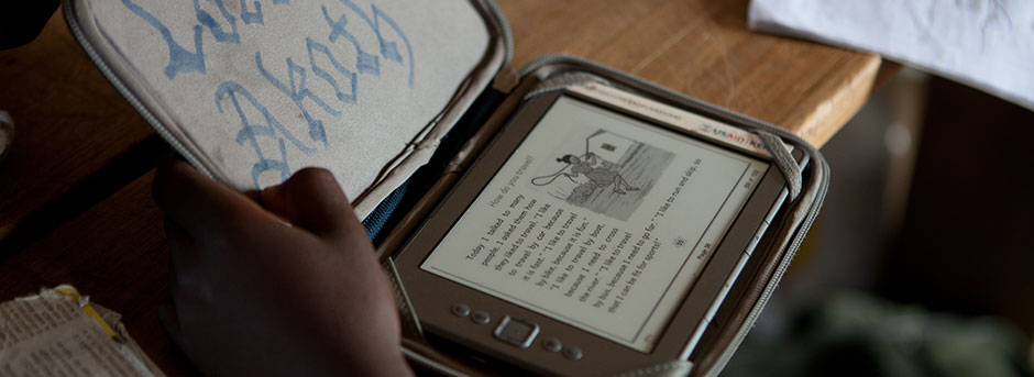 An e-reader case personalized by one of our students in Africa