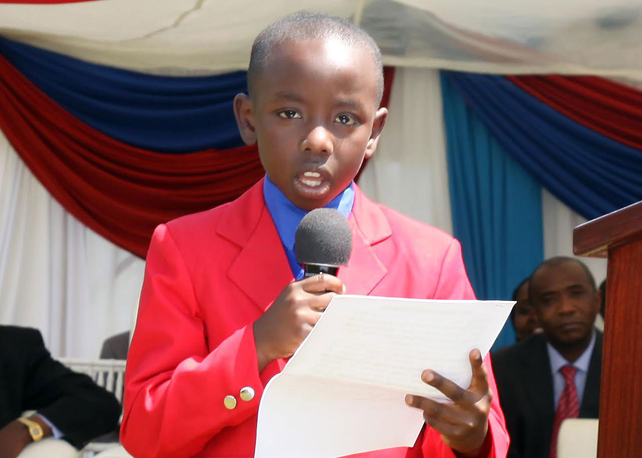 Kenya's youngest author, Ngure, does a speach at the launch of his book Out of the Box