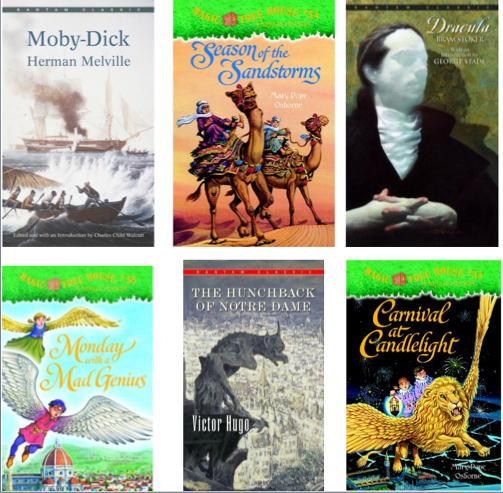 Book covers for Moby Dick, Season of the Sandstorms, Dracula, Monday with a Mad Genius, The Hunchback of Notre Dame and Carnival at Candlelight