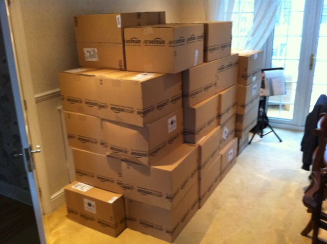 Stacks of boxes of Kindles in the Barcelona office