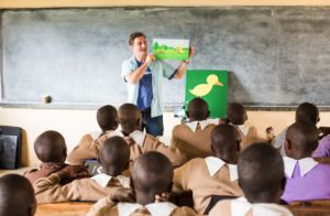 Tad hills reads to worldreader classroom in africa