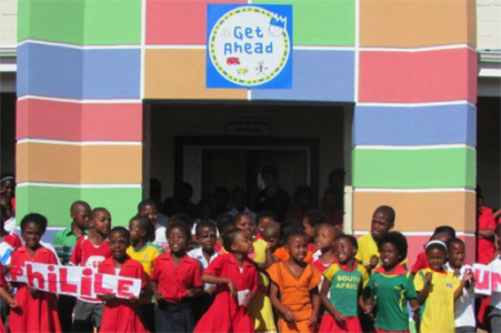 Students at the Worldreader launch at the Get Ahead Project school in South Africa