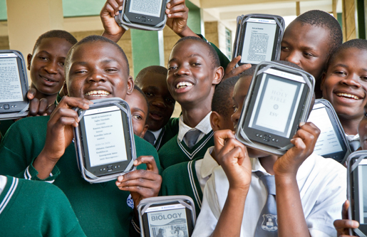Students holding e-readers