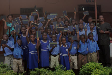children with e-readers in Ghana