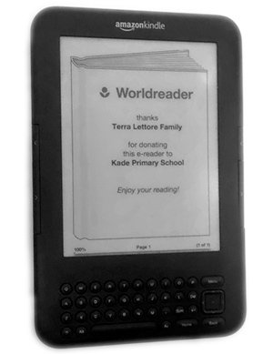Donor recognition on a project Kindle