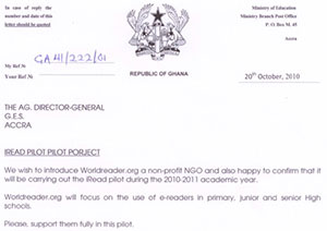 Letter Ghana education official granting permission to Worldreader for the first iREAD project