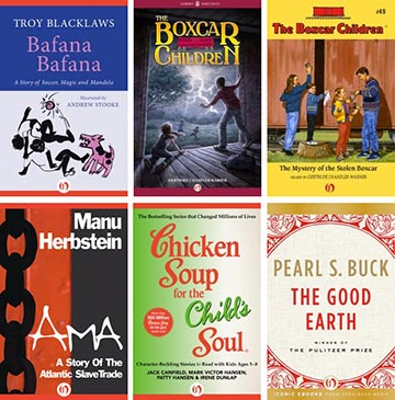 Book covers for Bafana Bafana, The Boxcar Children, Ama, Chicken Soup for the Child's Soul, and The Good Earth