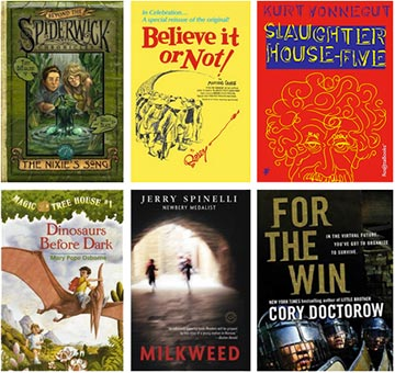 Book covers for The Spiderwick Chronicles, Ripley's Believe It Or Not, Slaughter House-Five, The Magic Tree House, Milkweed, and For the Win
