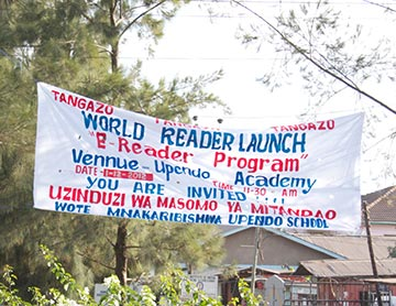 Handpainted sign for Worldreader's 2012 Upendo School launch