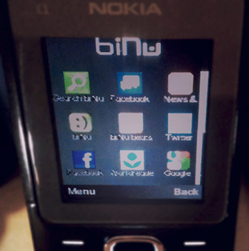 Photo of Nokia phone home screen with Worldreader Mobile Beta icon on bottom row