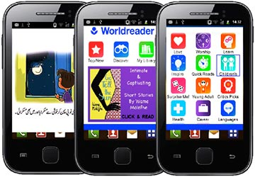 Worldreader Mobile screenshots, showing the user-interface, a book illustration, and a banner ad