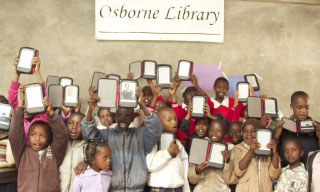 Students at the Worldreader launch at Osborne Memorial Library