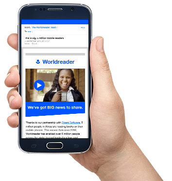 Worldreader's email about our mobile reading partnership with Opera Software